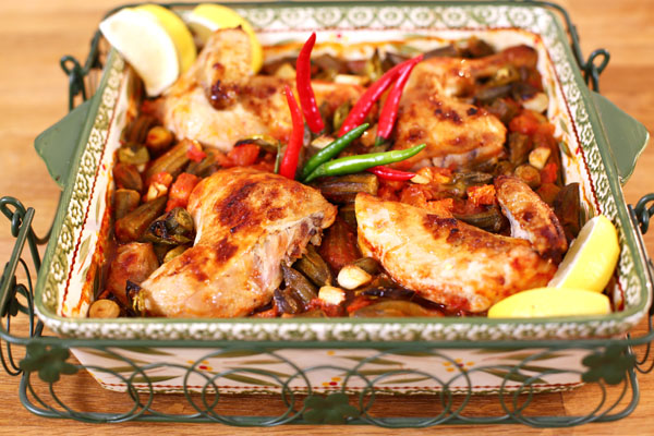 طاجن البامية بالدجاج - وصفة مختصرة